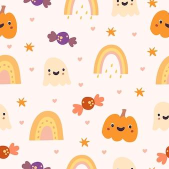 Halloween elements seamless pattern
