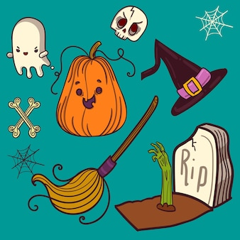 Halloween elements set icon for party