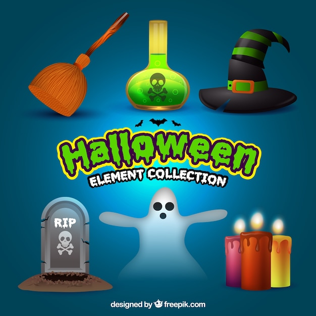 Halloween elements set in a realistic style