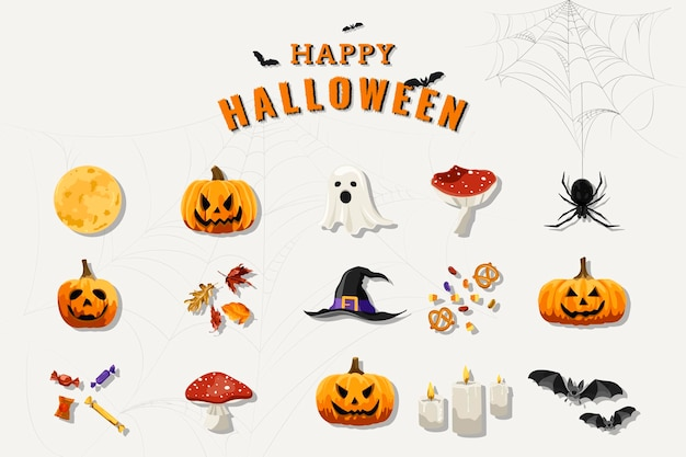 Elementi di halloween impostati su sfondo bianco