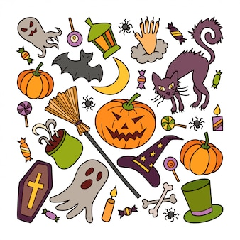 Halloween elements set with pumpkin, ghost and witch hat in doodle style. hand drawn illustration