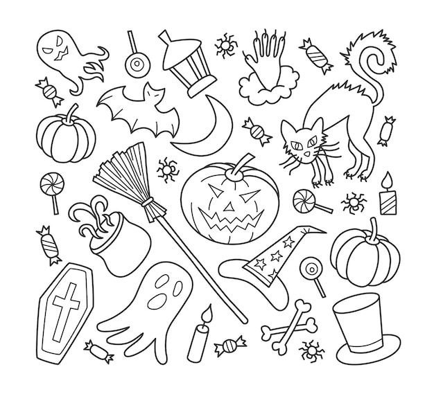 Halloween elements set with pumpkin, ghost and witch hat in doodle style