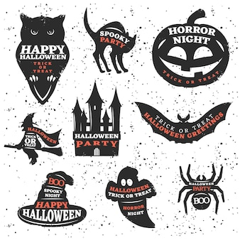 Halloween elements set with quotes