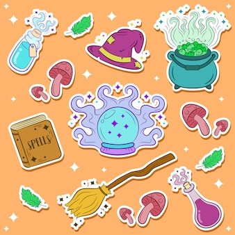 Halloween elements stickers for print