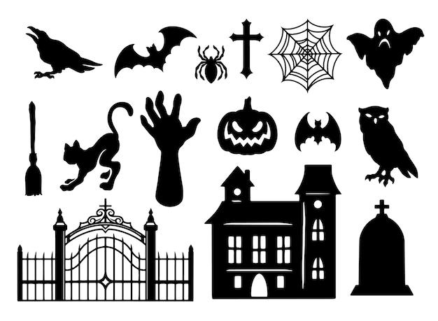 Halloween elements vintage black set