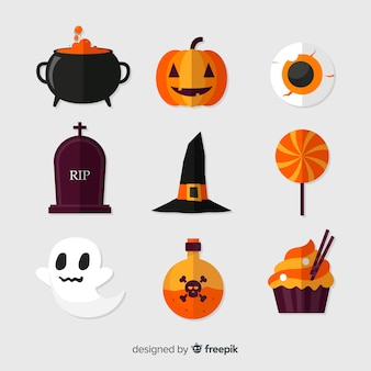 Halloween elements on white background