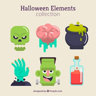 Halloween elements with creepy style