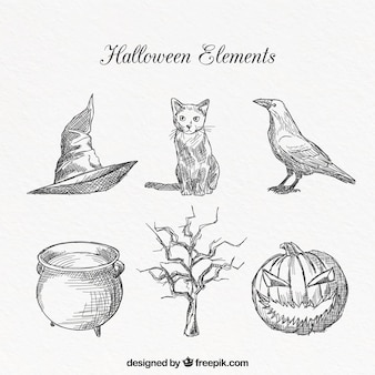 Halloween elements with hand drawn style