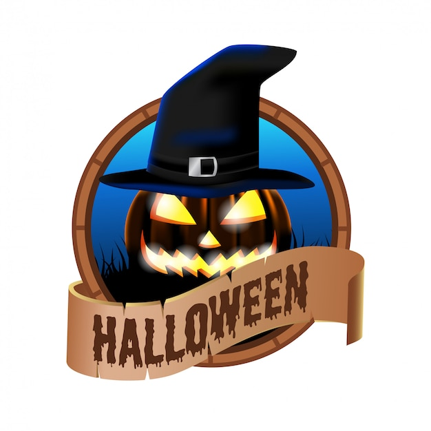 Halloween emblem badge icon