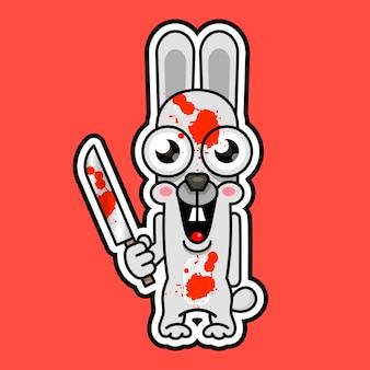 할로윈 사악한 토끼 칼, 블레이드 만화 재미있는 괴물. 벡터 일러스트 레이 션