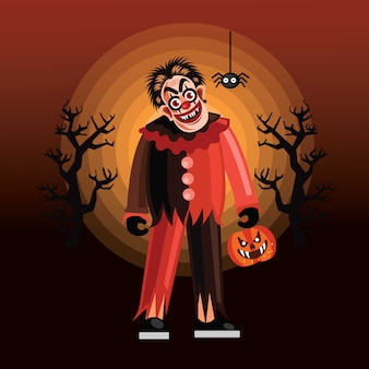Halloween evil clown character