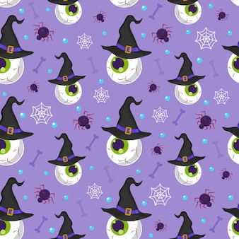 Halloween eyeball seamless pattern