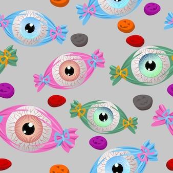 Halloween eyes candy pattern.