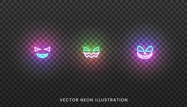 Halloween face neon icons. set of bright face expreshions for halloween
