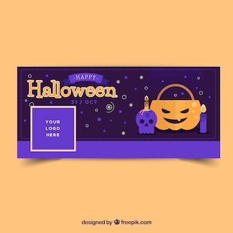 Halloween facebook cover with elements in flat design