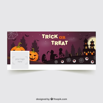 Halloween facebook cover with pumpkins