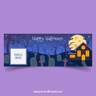 Halloween facebook home page in the cemetery