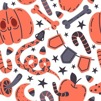 Halloween fall doodle vector seamless pattern