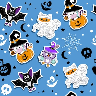 Halloween fashion patch badges with cute cartoon ginger cat in mummy costume owl unicorn pumpkin