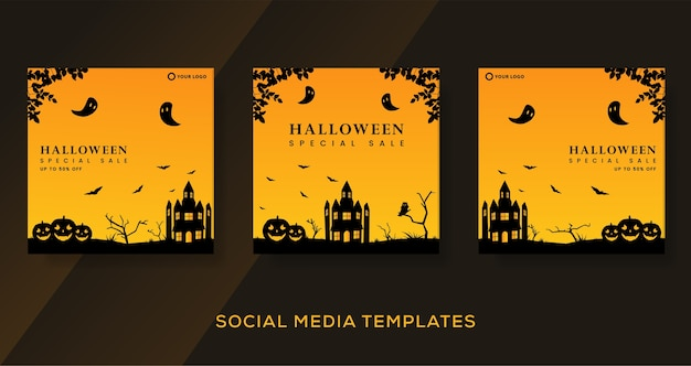 Halloween fashion sale background cover template.