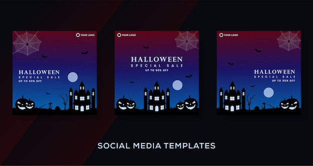 Halloween fashion sale template background.