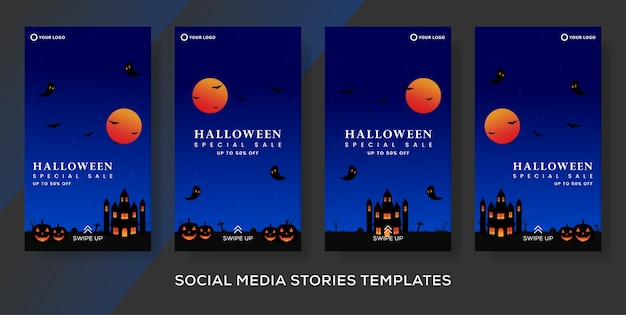 Halloween fashion sale template banner stories post.