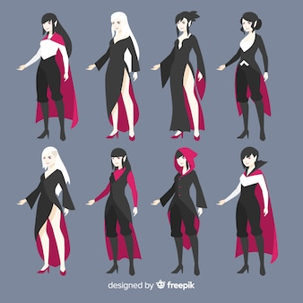 Halloween female vampire character collection in different positions
