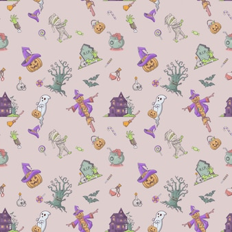 Halloween fest seamless pattern