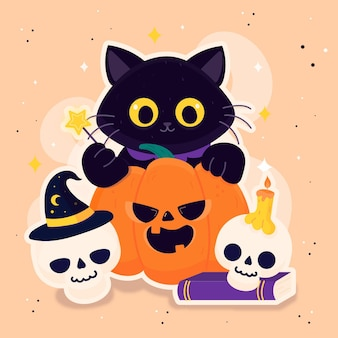 Halloween festival cat drawing