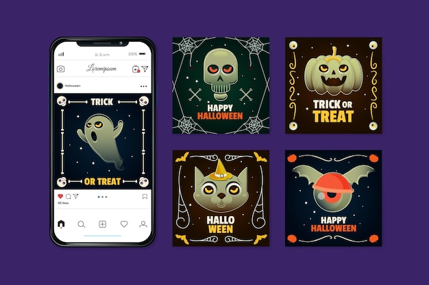 Concetto di post instagram festival di halloween