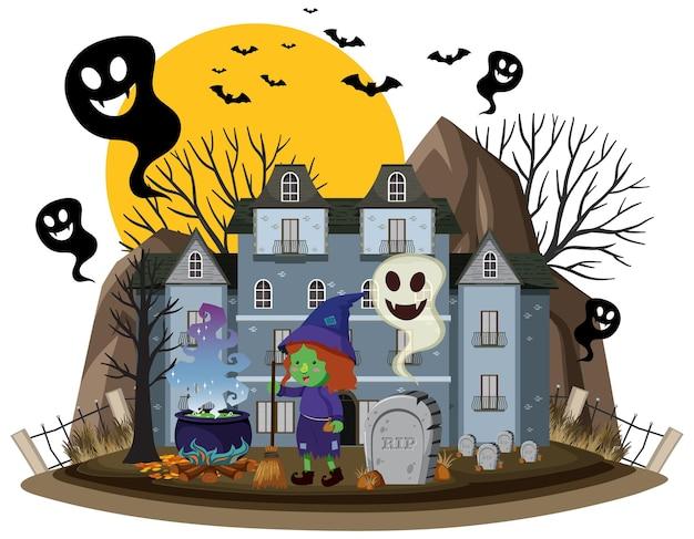 Фестиваль хэллоуина с особняком с привидениями
