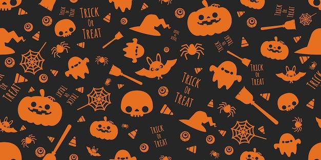Halloween festive halloween elements seamless pattern.