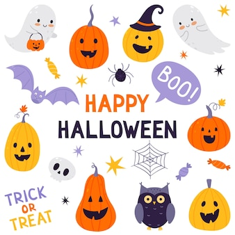 Праздничный набор хэллоуина. набор рисованной традиционных символов. коллекция с тыквами, привидением, совой, черепом, летучей мышью и конфетами.