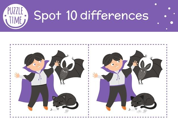 Хэллоуин игра найди отличия для детей. осенняя образовательная деятельность с забавным вампиром, летучей мышью и черным котом. лист для печати с улыбающимся персонажем. симпатичная сцена дня всех святых