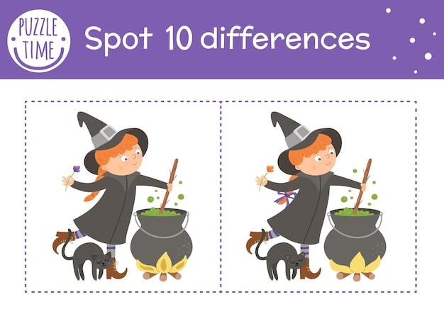 Хэллоуин игра найди отличия для детей. осеннее познавательное мероприятие с забавной ведьмой, котлом и черным котом. лист для печати с улыбающимся персонажем. симпатичная сцена дня всех святых
