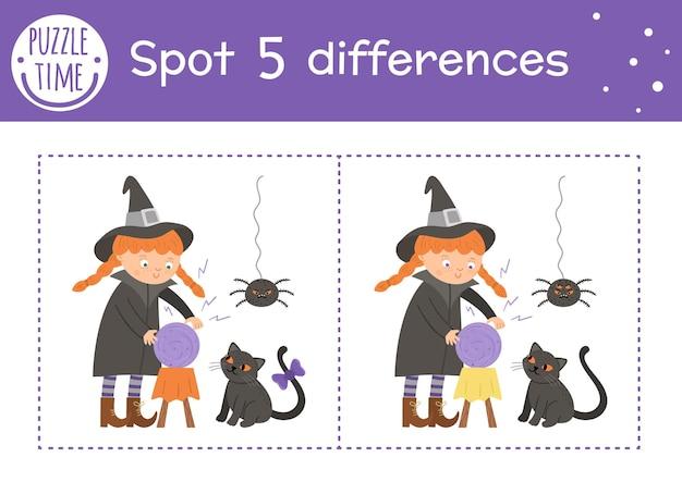 Хэллоуин игра найди отличия для детей. осенняя познавательная деятельность с забавной ведьмой, пауком и черным котом. лист для печати с улыбающимся персонажем. симпатичная сцена дня всех святых