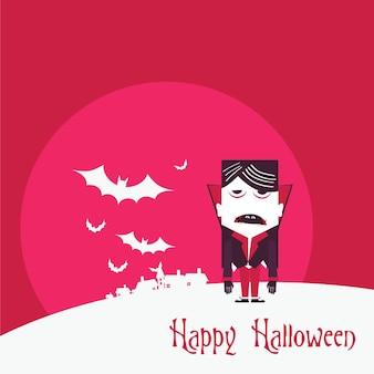 かわいい吸血鬼とハロウィーンフラット背景