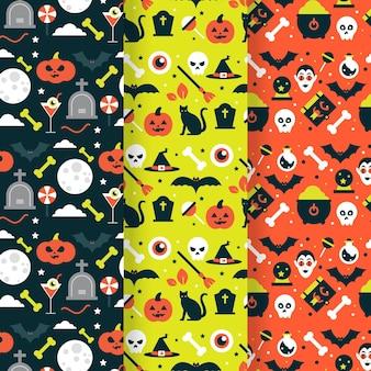 Halloween flat design seamless patterns