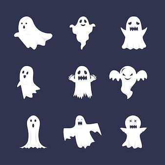 할로윈 평면 유령 벡터 컬렉션입니다. 귀여운 유령 번들. 어두운 배경에 흰색 유령입니다. 할로윈 귀여운 유령의 집합입니다. 플랫 할로윈 유령 디자인입니다.