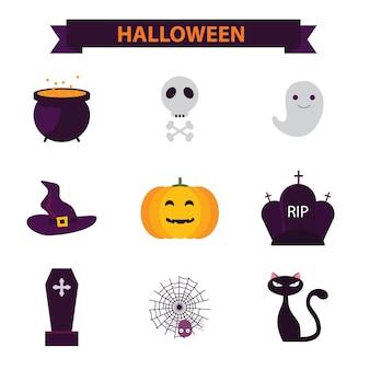Halloween flat icon set