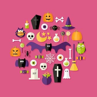 Хэллоуин плоский набор иконок над розовым. векторная иллюстрация