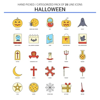 Halloween flat line icon set