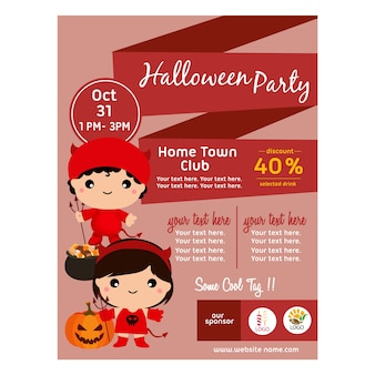 Halloween flat poster with kid devil costume