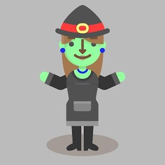 Halloween flat witch