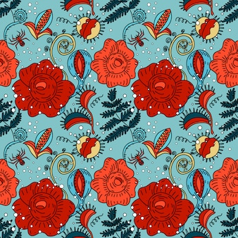 Halloween floral seamless pattern in doodle style
