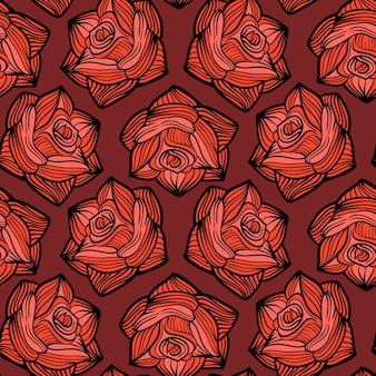 ハロウィーンのバラと花のシームレスなパターン。