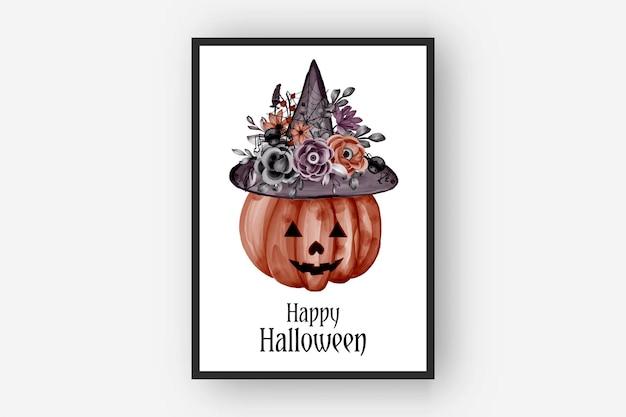 ハロウィーンのフラワーアレンジメントカボチャと帽子の水彩イラスト