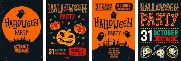 Halloween flyer set