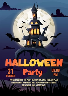 Halloween flyer template haunted house dark castle and full moon flyer mockup for halloween party