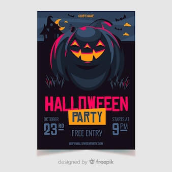 Halloween flyer template with happy pumpkin
